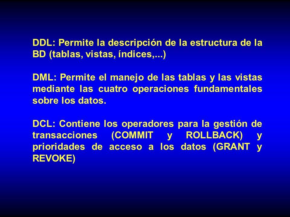 DDL: Permite la descripción de la estructura de la BD (tablas, vistas, índices,...) DML: Permite el manejo de las tablas y las vistas mediante las cuatro operaciones fundamentales sobre los datos.