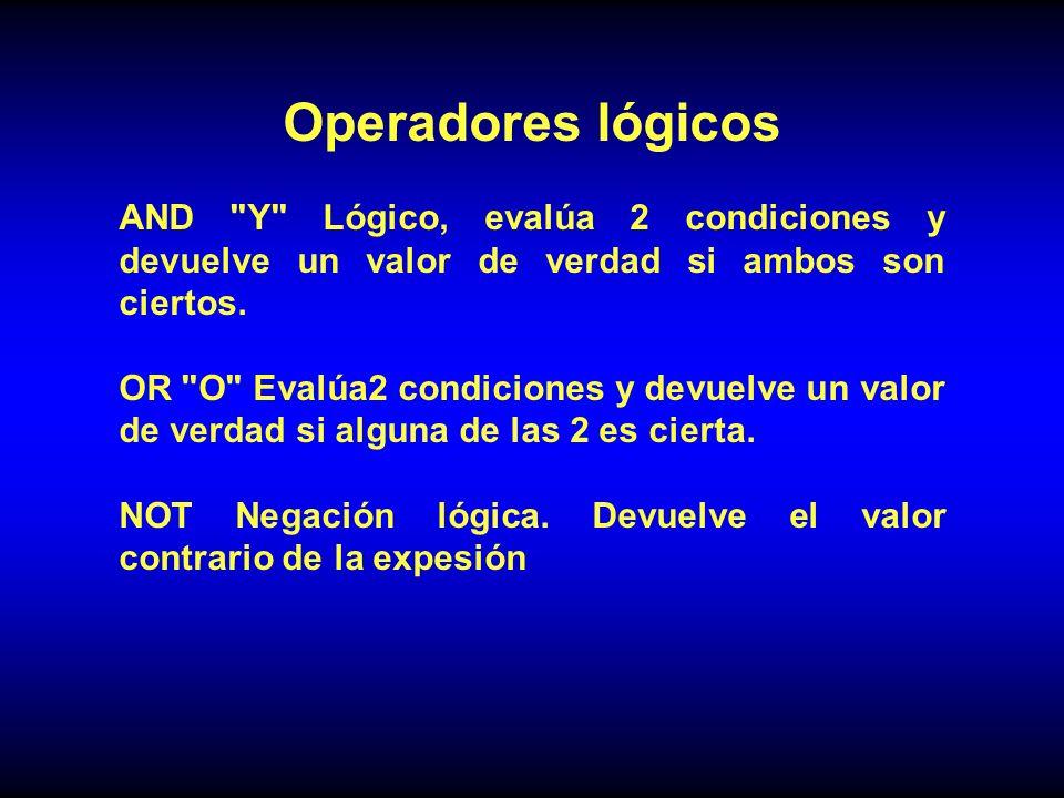 Operadores lógicos AND Y Lógico, evalúa 2 condiciones y devuelve un valor de verdad si ambos son ciertos.
