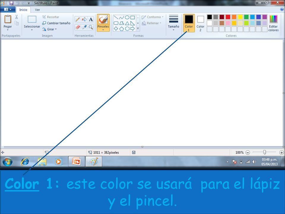 Color 1: este color se usará para el lápiz y el pincel.