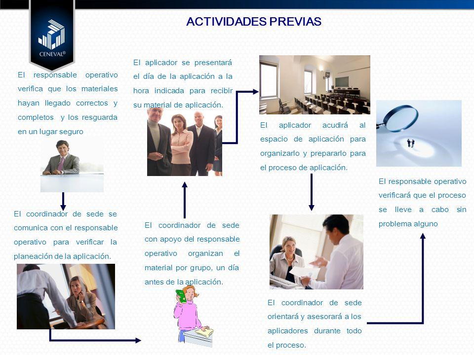 El coordinador de sede se comunica con el responsable operativo para verificar la planeación de la aplicación.