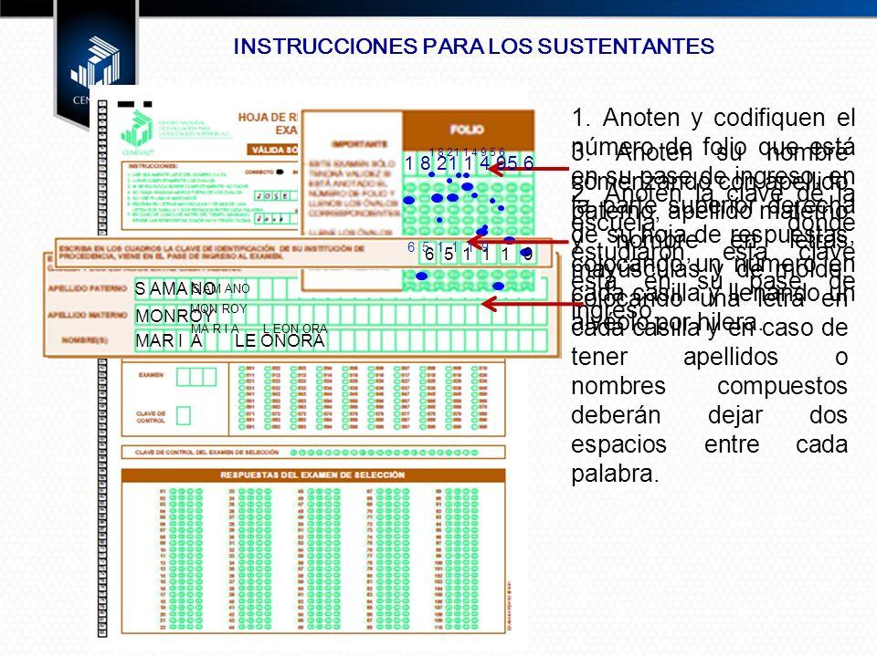 INSTRUCCIONES PARA LOS SUSTENTANTES 1.
