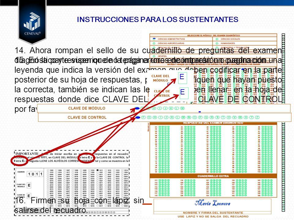 1 0 1 1 INSTRUCCIONES PARA LOS SUSTENTANTES 14.