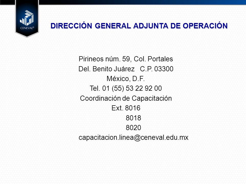Pirineos núm.59, Col. Portales Del. Benito Juárez C.P.