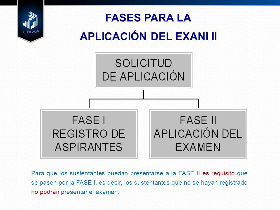 FASES PARA LA APLICACIÓN DEL EXANI II Para que los sustentantes puedan presentarse a la FASE II es requisito que se pasen por la FASE I, es decir, los sustentantes que no se hayan registrado no podrán presentar el examen.