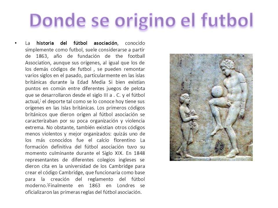 La historia del fútbol asociación, conocido simplemente como futbol, suele considerarse a partir de 1863, año de fundación de the football Association
