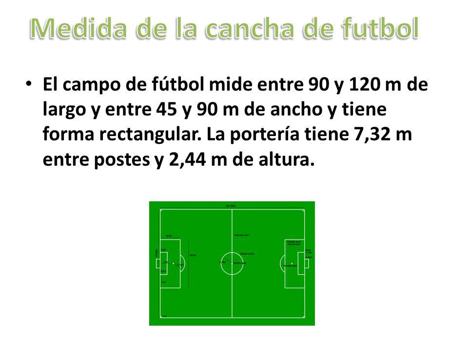El campo de fútbol mide entre 90 y 120 m de largo y entre 45 y 90 m de ancho y tiene forma rectangular. La portería tiene 7,32 m entre postes y 2,44 m