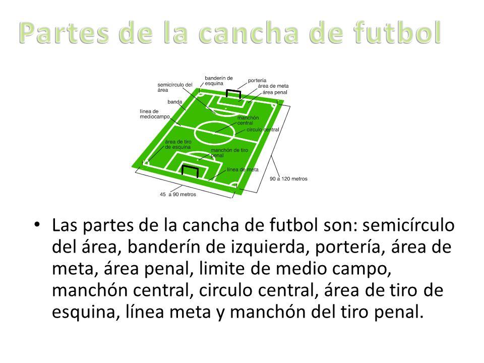 Las partes de la cancha de futbol son: semicírculo del área, banderín de izquierda, portería, área de meta, área penal, limite de medio campo, manchón