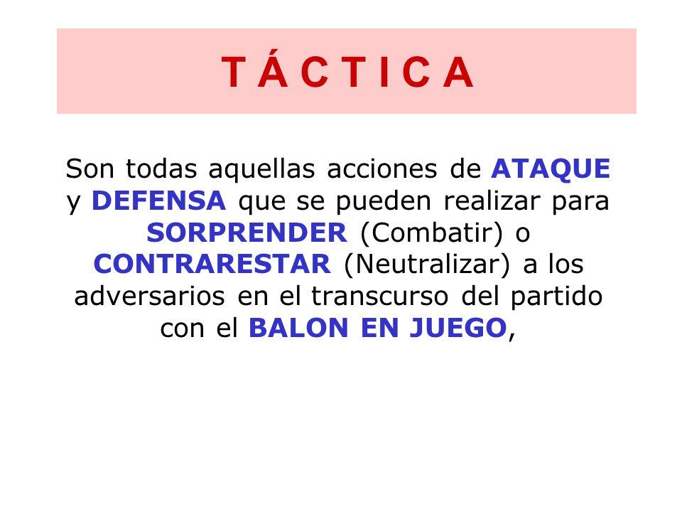 T Á C T I C A Son todas aquellas acciones de ATAQUE y DEFENSA que se pueden realizar para SORPRENDER (Combatir) o CONTRARESTAR (Neutralizar) a los adv