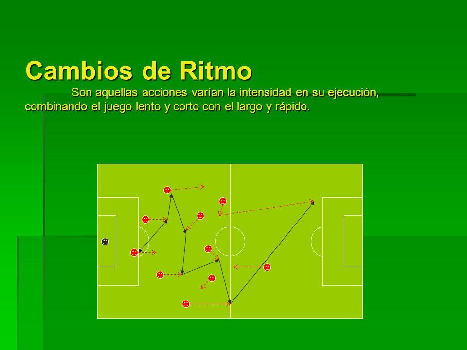 Cambios de Ritmo Son aquellas acciones varían la intensidad en su ejecución, combinando el juego lento y corto con el largo y rápido.