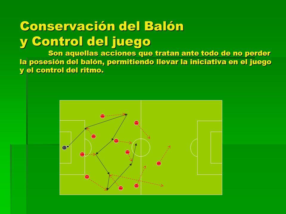 Conservación del Balón y Control del juego Son aquellas acciones que tratan ante todo de no perder la posesión del balón, permitiendo llevar la inicia