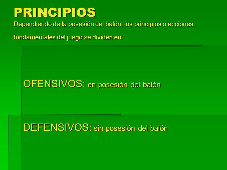 PRINCIPIOS Dependiendo de la posesión del balón, los principios o acciones fundamentales del juego se dividen en: OFENSIVOS: en posesión del balón DEF