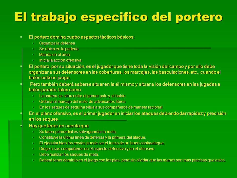 El trabajo especifico del portero El portero domina cuatro aspectos tácticos básicos: El portero domina cuatro aspectos tácticos básicos: Organiza la