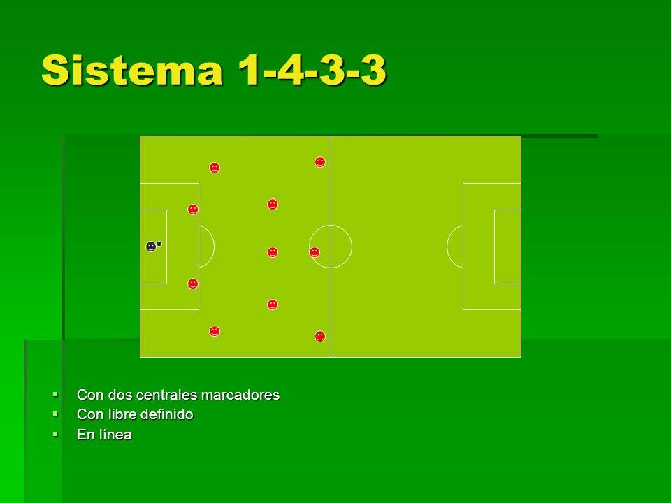 Sistema 1-4-3-3 Con dos centrales marcadores Con dos centrales marcadores Con libre definido Con libre definido En línea En línea