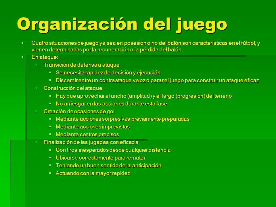 Organización del juego Cuatro situaciones de juego ya sea en posesión o no del balón son características en el fútbol, y vienen determinadas por la re