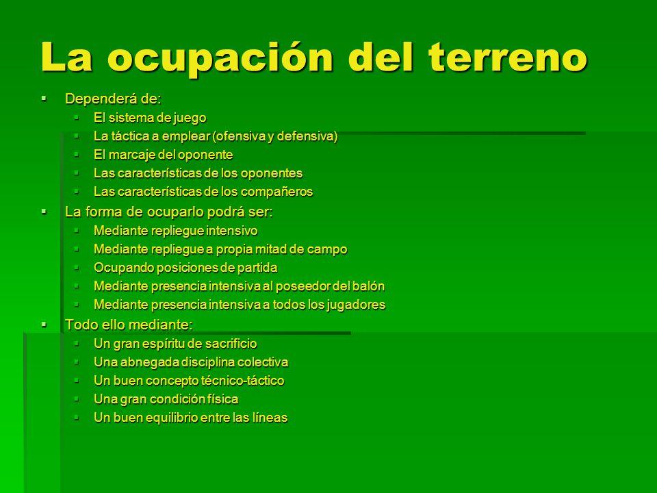 La ocupación del terreno Dependerá de: Dependerá de: El sistema de juego El sistema de juego La táctica a emplear (ofensiva y defensiva) La táctica a
