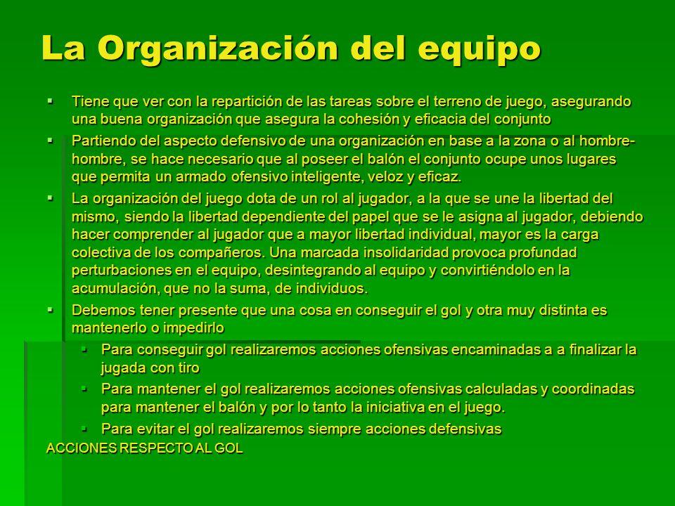 La Organización del equipo Tiene que ver con la repartición de las tareas sobre el terreno de juego, asegurando una buena organización que asegura la