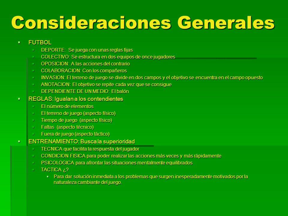 Consideraciones Generales FUTBOL FUTBOL DEPORTE: Se juega con unas reglas fijas DEPORTE: Se juega con unas reglas fijas COLECTIVO: Se estructura en do
