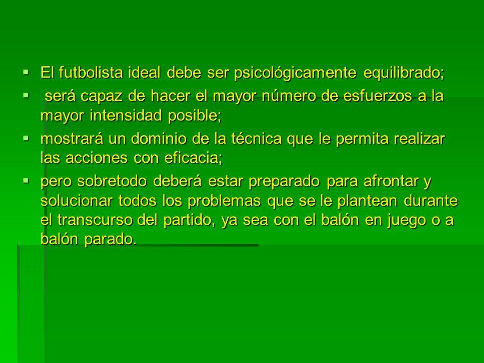 El futbolista ideal debe ser psicológicamente equilibrado; El futbolista ideal debe ser psicológicamente equilibrado; será capaz de hacer el mayor núm