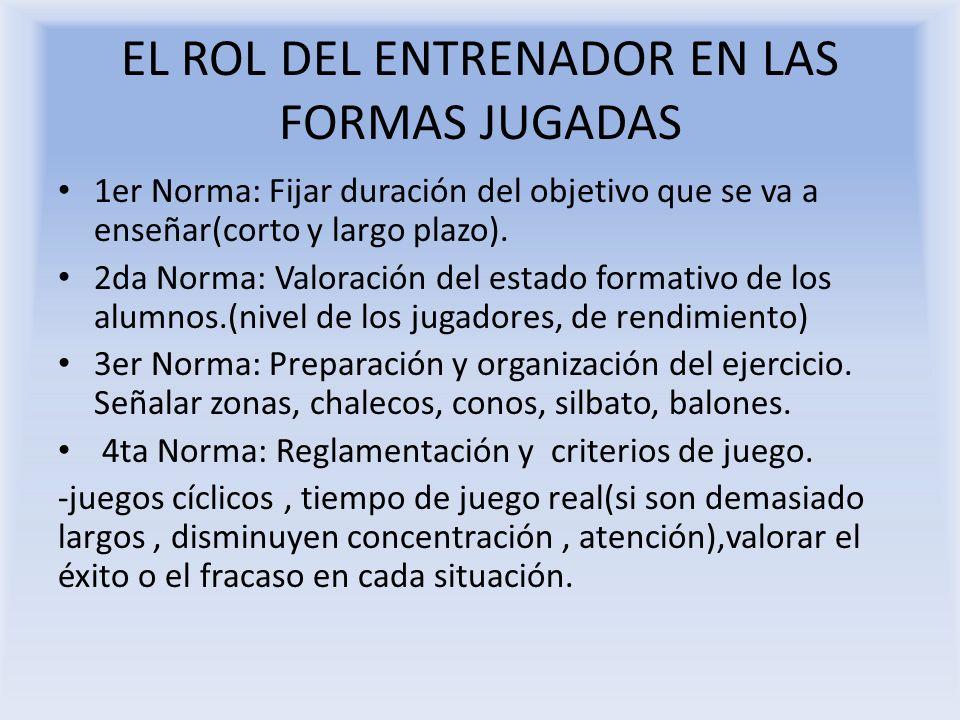 EL ROL DEL ENTRENADOR EN LAS FORMAS JUGADAS 1er Norma: Fijar duración del objetivo que se va a enseñar(corto y largo plazo). 2da Norma: Valoración del