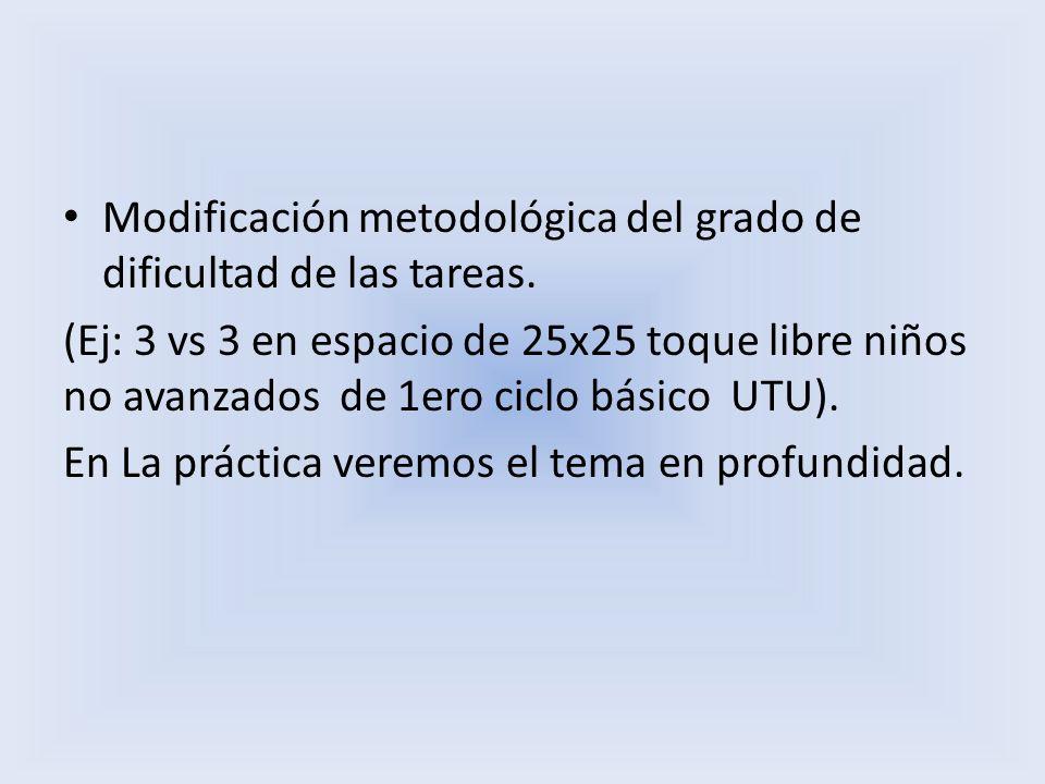 Modificación metodológica del grado de dificultad de las tareas. (Ej: 3 vs 3 en espacio de 25x25 toque libre niños no avanzados de 1ero ciclo básico U