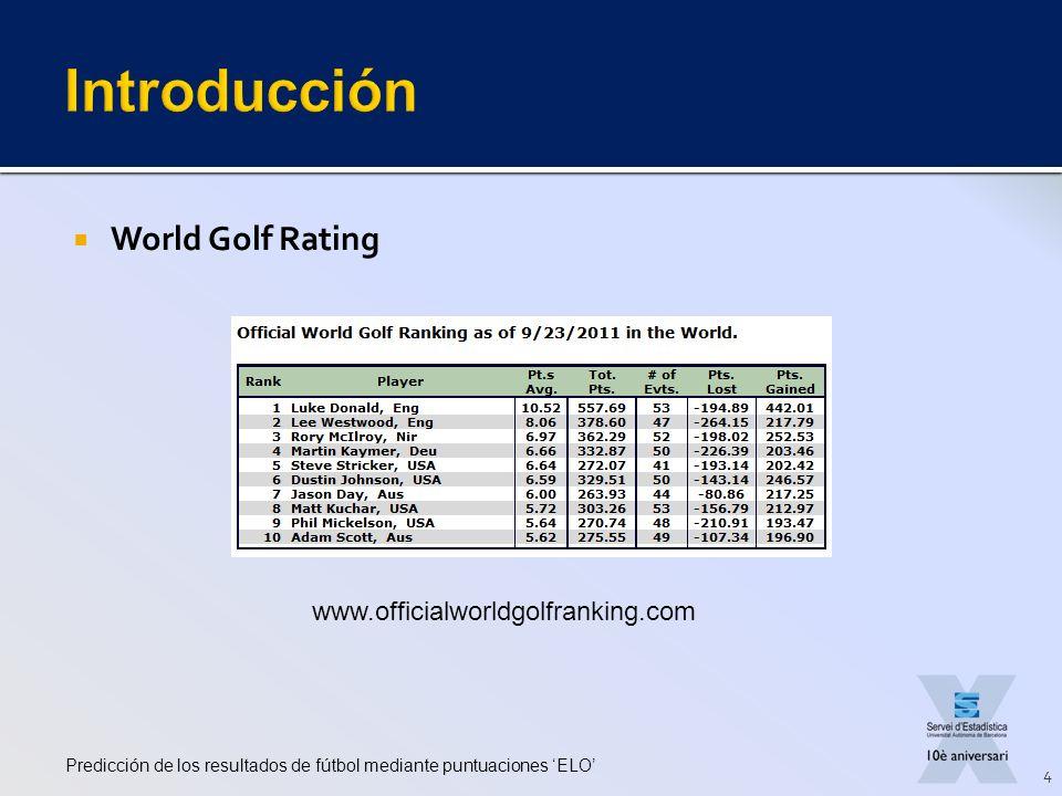 World Golf Rating Predicción de los resultados de fútbol mediante puntuaciones ELO 4 www.officialworldgolfranking.com