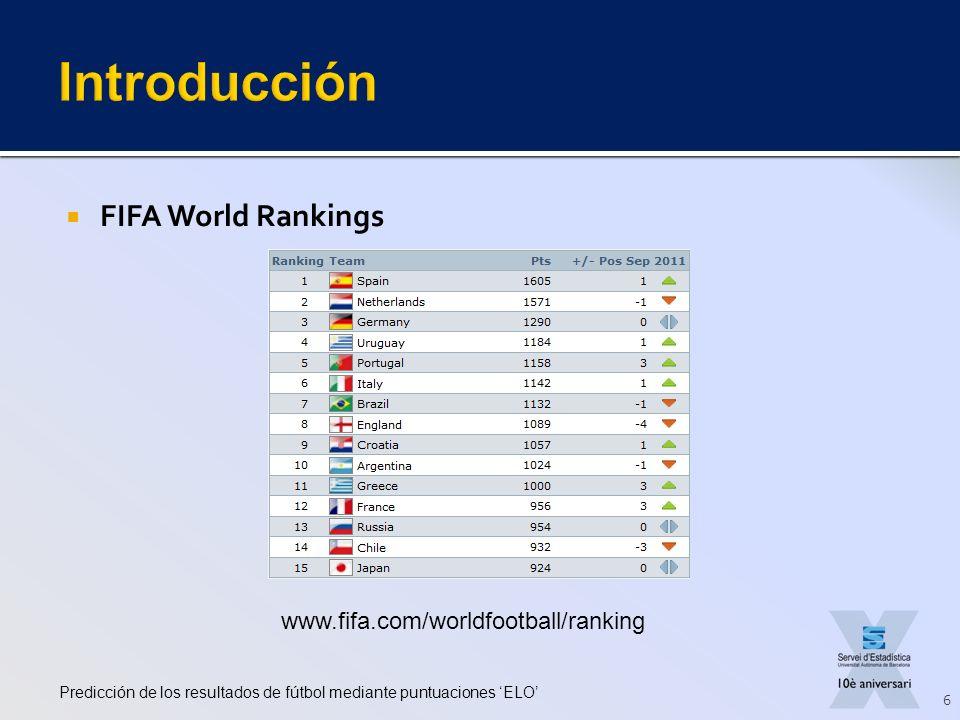 FIFA World Rankings Predicción de los resultados de fútbol mediante puntuaciones ELO 6 www.fifa.com/worldfootball/ranking