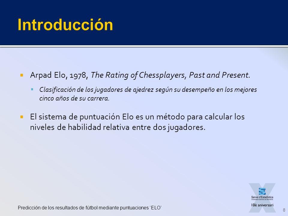 Arpad Elo, 1978, The Rating of Chessplayers, Past and Present. Clasificación de los jugadores de ajedrez según su desempeño en los mejores cinco años