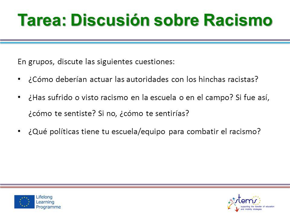 En grupos, discute las siguientes cuestiones: ¿Cómo deberían actuar las autoridades con los hinchas racistas? ¿Has sufrido o visto racismo en la escue