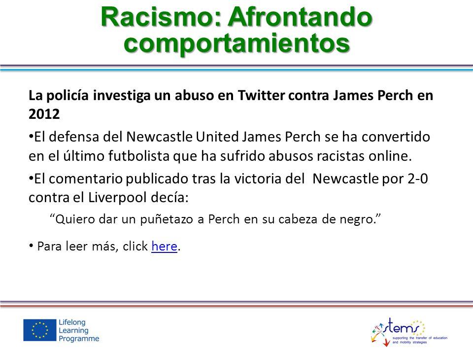 La policía investiga un abuso en Twitter contra James Perch en 2012 El defensa del Newcastle United James Perch se ha convertido en el último futbolis