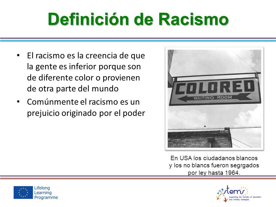 El racismo es la creencia de que la gente es inferior porque son de diferente color o provienen de otra parte del mundo Comúnmente el racismo es un pr