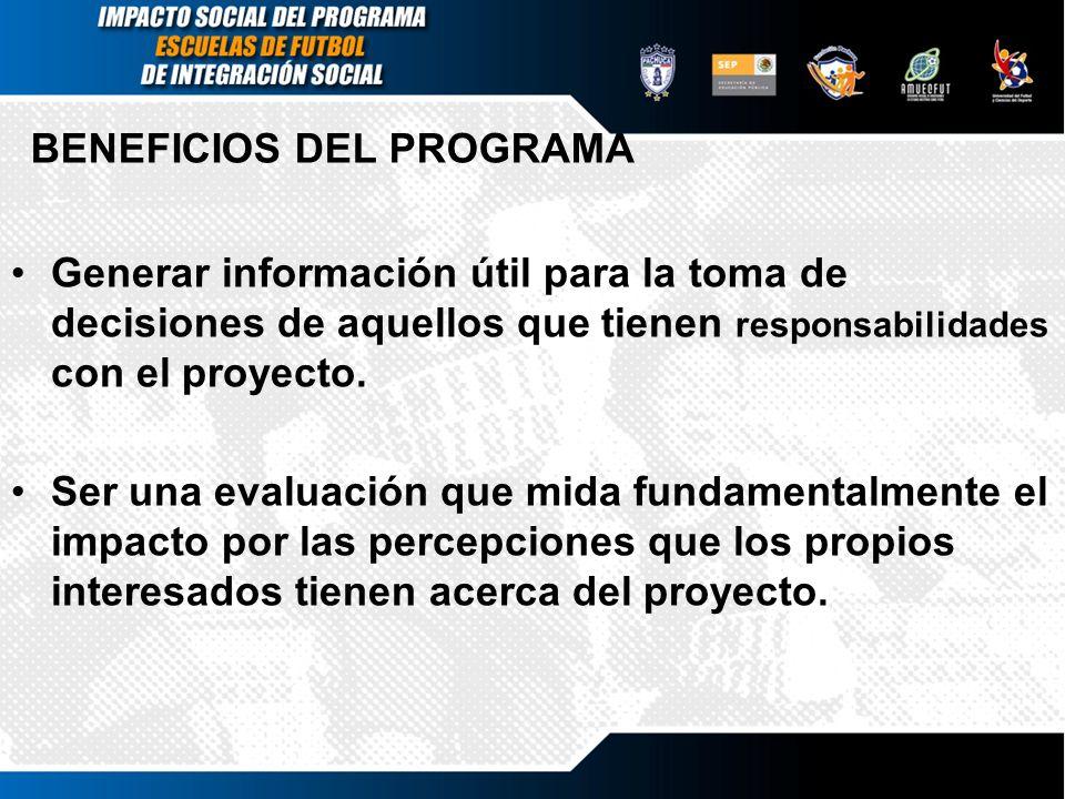 BENEFICIOS DEL PROGRAMA Generar información útil para la toma de decisiones de aquellos que tienen responsabilidades con el proyecto. Ser una evaluaci