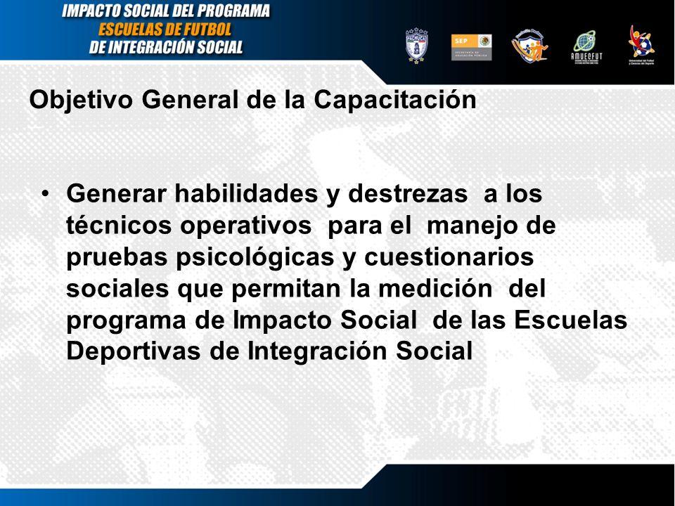 Objetivos Específicos Introducir a los técnicos operativos al conocimiento del proyecto Impacto Social de las Escuelas Deportivas de Integración Social.