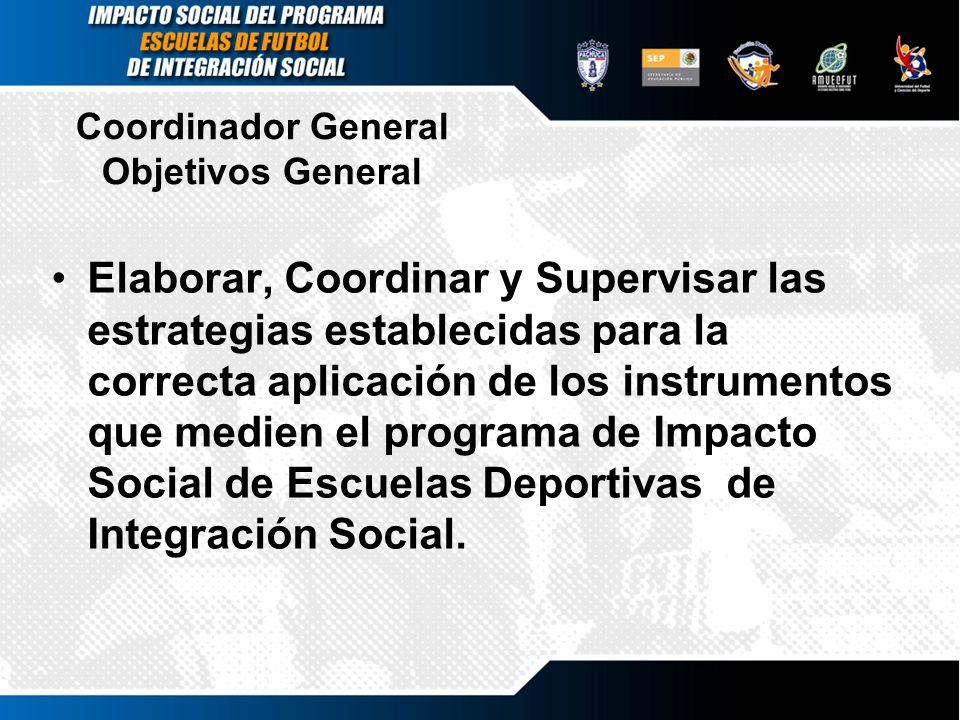 Coordinador General Objetivos General Elaborar, Coordinar y Supervisar las estrategias establecidas para la correcta aplicación de los instrumentos qu