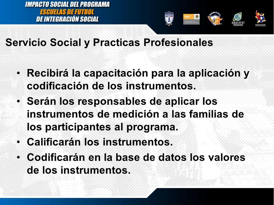 Servicio Social y Practicas Profesionales Recibirá la capacitación para la aplicación y codificación de los instrumentos. Serán los responsables de ap