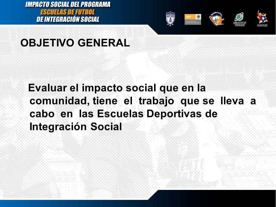 OBJETIVO GENERAL Evaluar el impacto social que en la comunidad, tiene el trabajo que se lleva a cabo en las Escuelas Deportivas de Integración Social