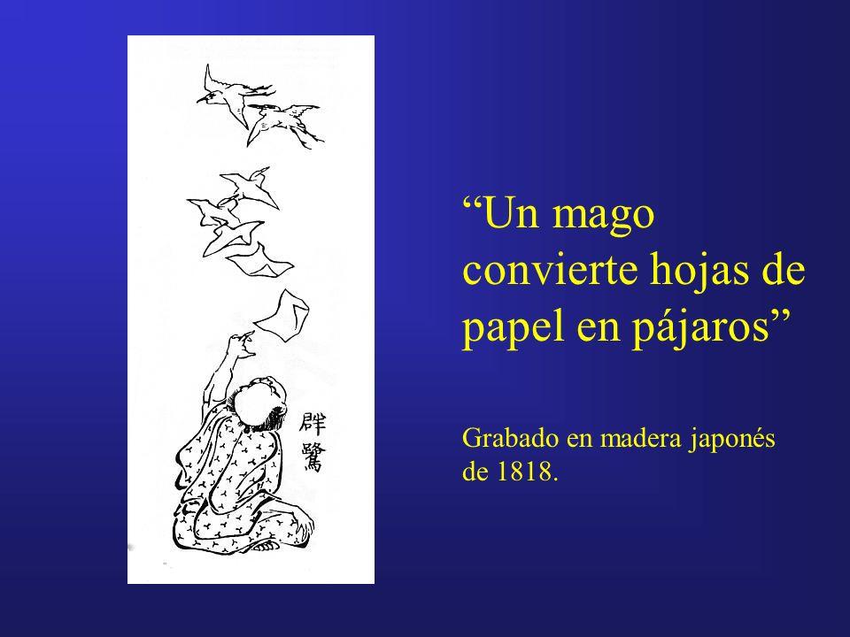 Un mago convierte hojas de papel en pájaros Grabado en madera japonés de 1818.