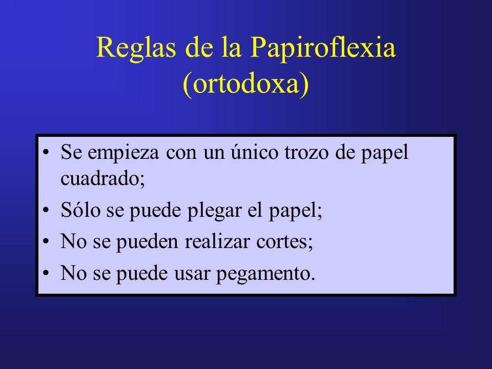 Reglas de la Papiroflexia (ortodoxa) Se empieza con un único trozo de papel cuadrado; Sólo se puede plegar el papel; No se pueden realizar cortes; No se puede usar pegamento.