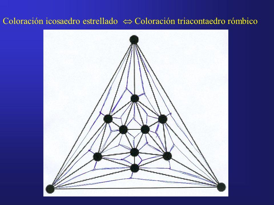 Coloración icosaedro estrellado Coloración triacontaedro rómbico