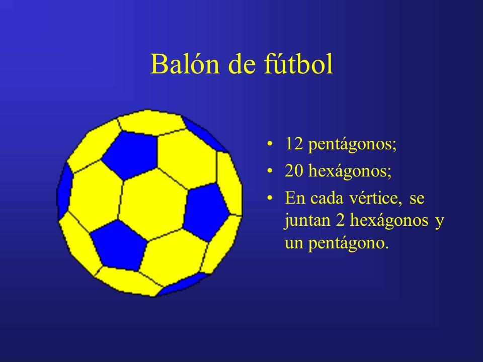 Balón de fútbol 12 pentágonos; 20 hexágonos; En cada vértice, se juntan 2 hexágonos y un pentágono.