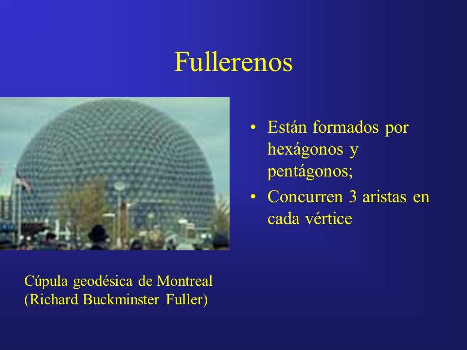 Fullerenos Están formados por hexágonos y pentágonos; Concurren 3 aristas en cada vértice Cúpula geodésica de Montreal (Richard Buckminster Fuller)