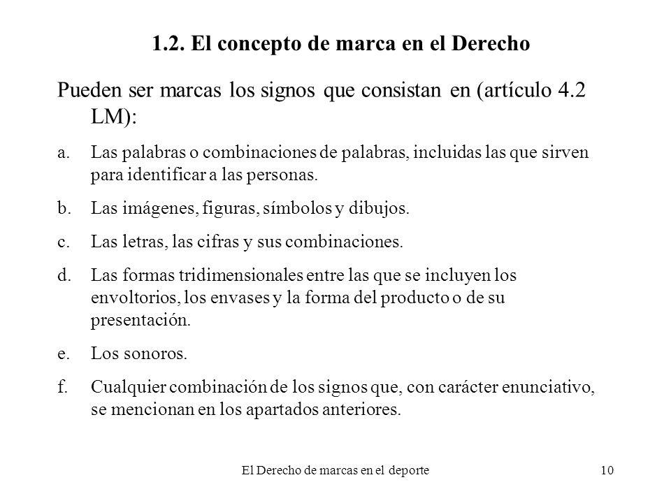 El Derecho de marcas en el deporte10 1.2. El concepto de marca en el Derecho Pueden ser marcas los signos que consistan en (artículo 4.2 LM): a.Las pa