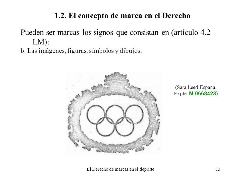 El Derecho de marcas en el deporte13 1.2. El concepto de marca en el Derecho Pueden ser marcas los signos que consistan en (artículo 4.2 LM): b. Las i