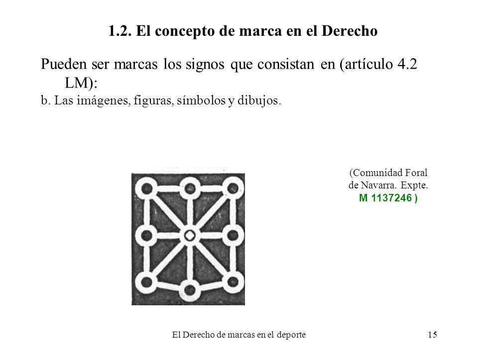 El Derecho de marcas en el deporte15 1.2. El concepto de marca en el Derecho Pueden ser marcas los signos que consistan en (artículo 4.2 LM): b. Las i