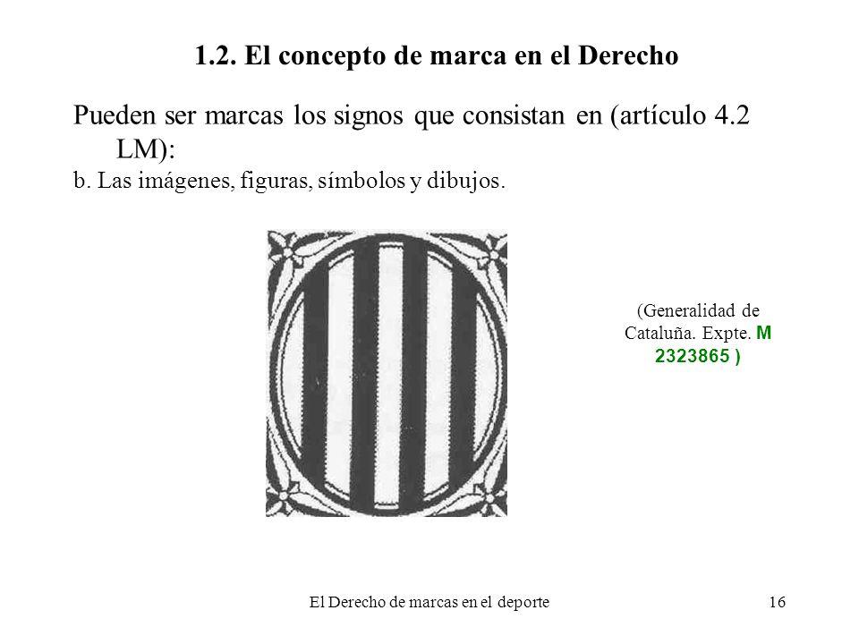 El Derecho de marcas en el deporte16 1.2. El concepto de marca en el Derecho Pueden ser marcas los signos que consistan en (artículo 4.2 LM): b. Las i