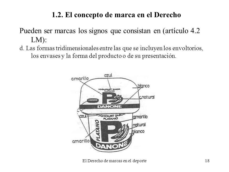 El Derecho de marcas en el deporte18 1.2. El concepto de marca en el Derecho Pueden ser marcas los signos que consistan en (artículo 4.2 LM): d. Las f