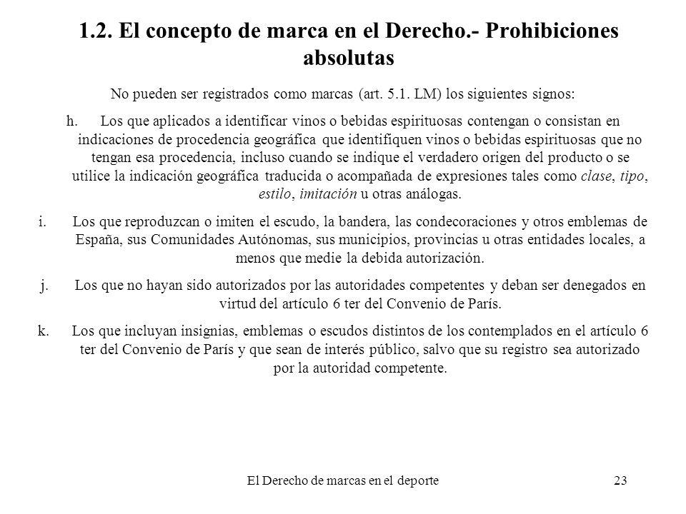 El Derecho de marcas en el deporte23 1.2. El concepto de marca en el Derecho.- Prohibiciones absolutas No pueden ser registrados como marcas (art. 5.1