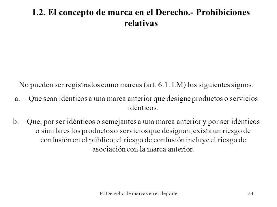 El Derecho de marcas en el deporte24 1.2. El concepto de marca en el Derecho.- Prohibiciones relativas No pueden ser registrados como marcas (art. 6.1