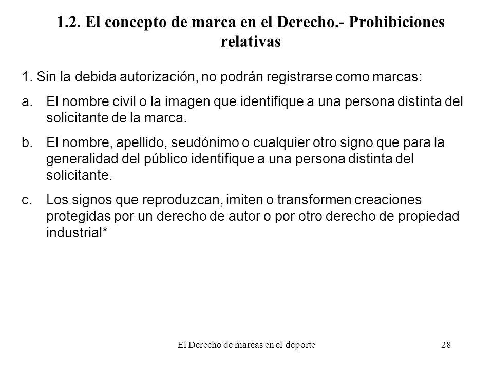 El Derecho de marcas en el deporte28 1.2. El concepto de marca en el Derecho.- Prohibiciones relativas 1. Sin la debida autorización, no podrán regist