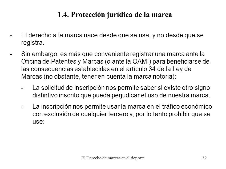 El Derecho de marcas en el deporte32 1.4. Protección jurídica de la marca -El derecho a la marca nace desde que se usa, y no desde que se registra. -S