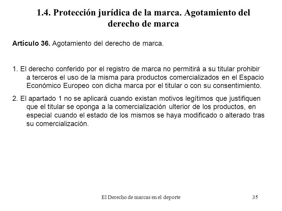 El Derecho de marcas en el deporte35 1.4. Protección jurídica de la marca. Agotamiento del derecho de marca Artículo 36. Agotamiento del derecho de ma